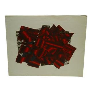 """Zoillner """"Sculptural Shapes in Red"""" Original Print"""