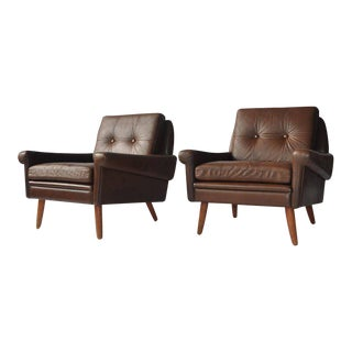 Pair of Svend Skipper Leather Lounge Chairs