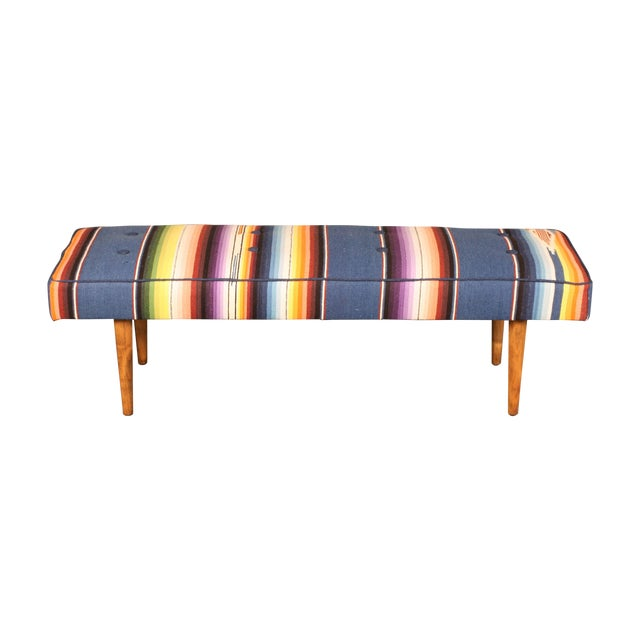 Image of Mid-Century Bench w/Mexican Serape Upholstery