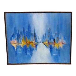 Mid Century Oil Cityscape Painting