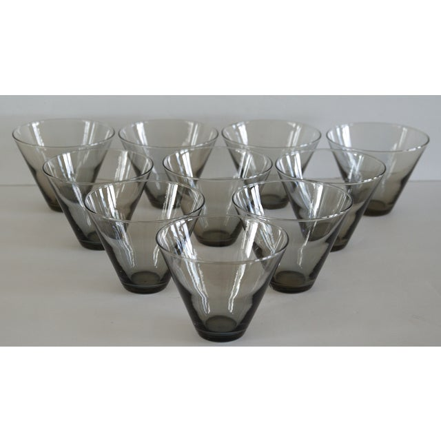 Modern Smoke Gray Cocktail Glasses - Set of 10 - Image 2 of 11