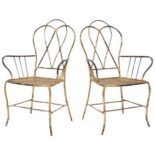 1960s Vintage Gilt Metal Faux Bamboo Armchairs - a Pair