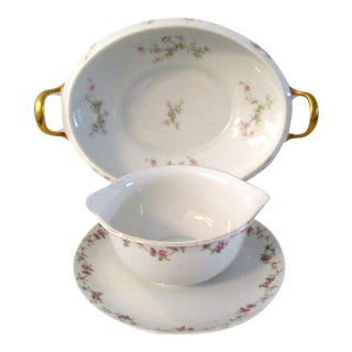 Limoges France Vegetable Bowl & Sauce Bowl - A Pair