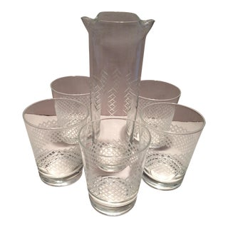 Vintage Lattice Design Cut Crystal Low Ball Glasses & Pitcher Set - Set of 6