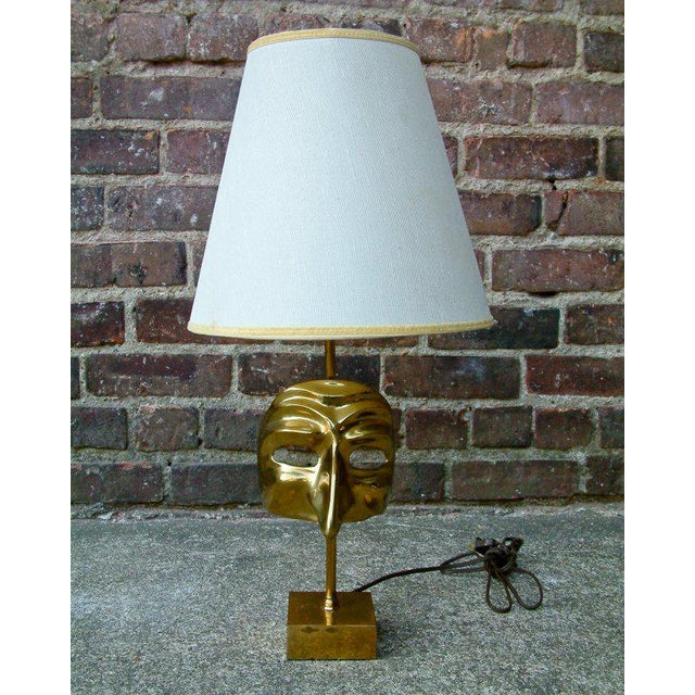 Commedia Dell'Arte Brass Mask Table Lamp - Image 8 of 9