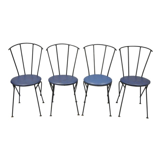 Mid-Century Modern Brutalist Iron Rebar Dining Chairs - Set of 4 - Image 1 of 11