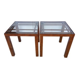 Vintage Solid Wood Side Tables - A Pair