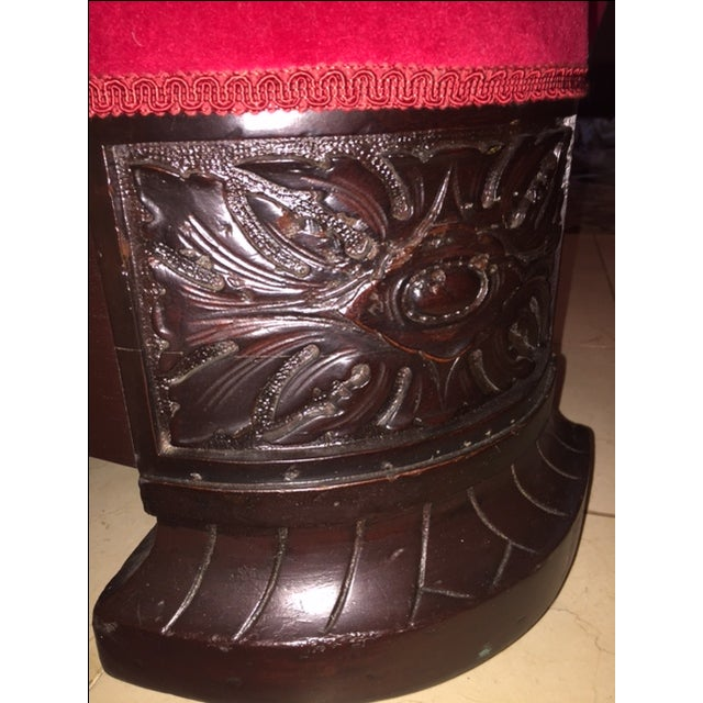 Antique Wood Carved & Red Fabric Sofa - Image 8 of 9