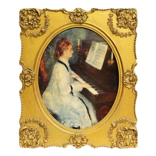 Framed Print of a Woman Playing Piano