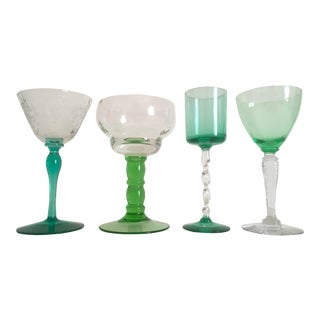 Vintage European Mid-Century Green Wine Glasses- Set of 4