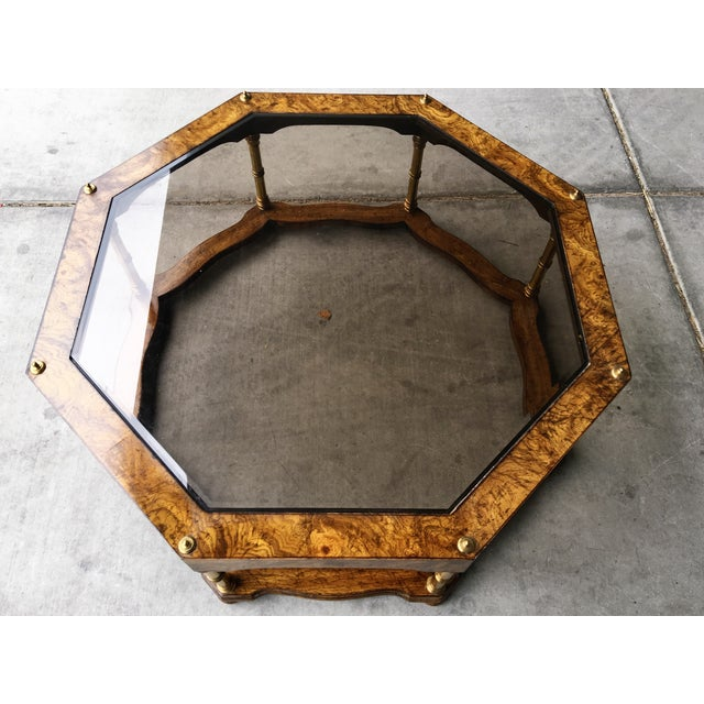 Vintage Wood & Beveled Glass Octagon Coffee Table - Image 3 of 4