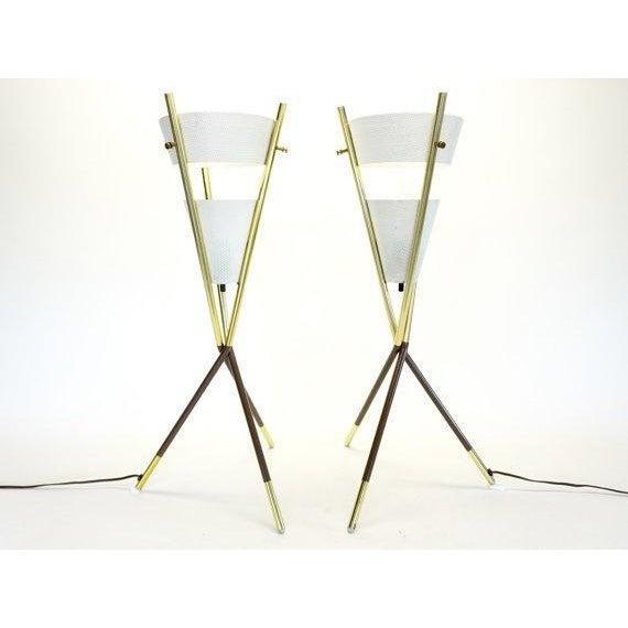 Gerald Thurston Lightolier Tripod Lamps - A Pair - Image 5 of 6