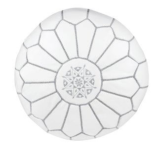 Embroidered Leather Pouf - Gray on White