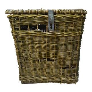 Antique French Green Wicker Storage Basket
