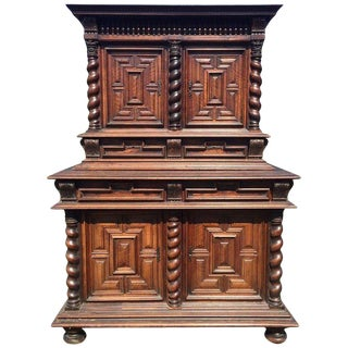 Early Carved Walnut Deux Corps 2-Piece Buffet