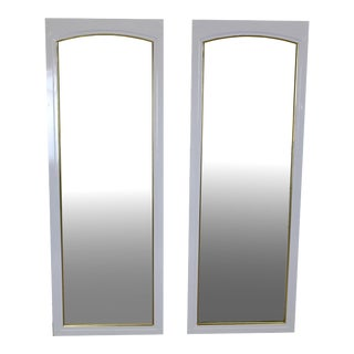 Mid-Century White Lacquered Mirrors - A Pair
