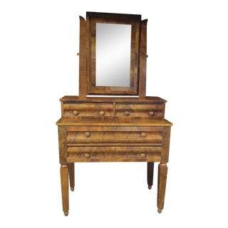 American Empire Flaming Mahogany Dresser With Mirror