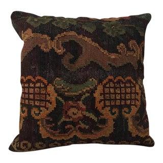 Black, Brown & Muted Orange Kilim Pillow
