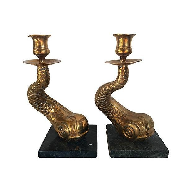Brass Dolphin Candlesticks - A Pair - Image 1 of 4