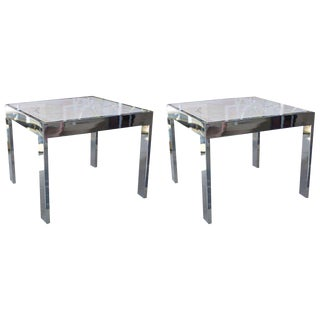 Marble & Steel Side Tables - A Pair