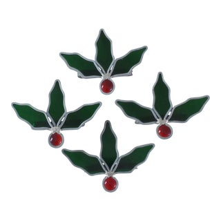 Holly Stained Glass Napkin Rings - Set of 4