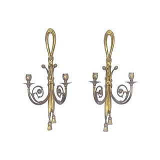 Antique Brass Acanthus Candleholder Sconces - Pair