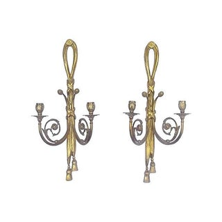 Antique Brass Acanthus Candleholder Sconces - Pair