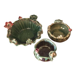 Majolica Frog & Lily Pad Ceramic Bowls- Set of 3