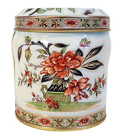 English Floral Tin Lidded Box - Image 1 of 6