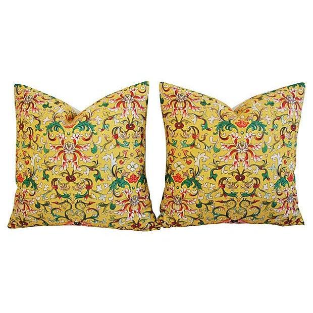 Custom Asian Yellow Floral Linen Pillows - A Pair - Image 7 of 7