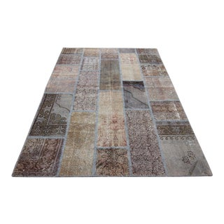 Vintage Turkish Overdyed Patchwork Oushak Distressed Rug - 5′5″ × 8′