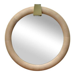 Karl Springer Style Shagreen Mirror with Brass Keystone