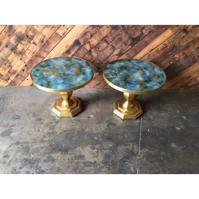 Image of Mid-Century Gilded Painted Glass Tables - A Pair