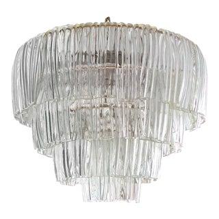 1960's Restored 4 Tier Bent Glass Chandelier