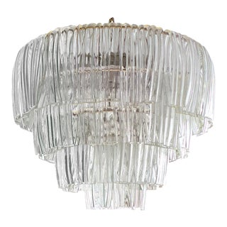 1960's Restored 4 Tier Bent Glass Chandelier