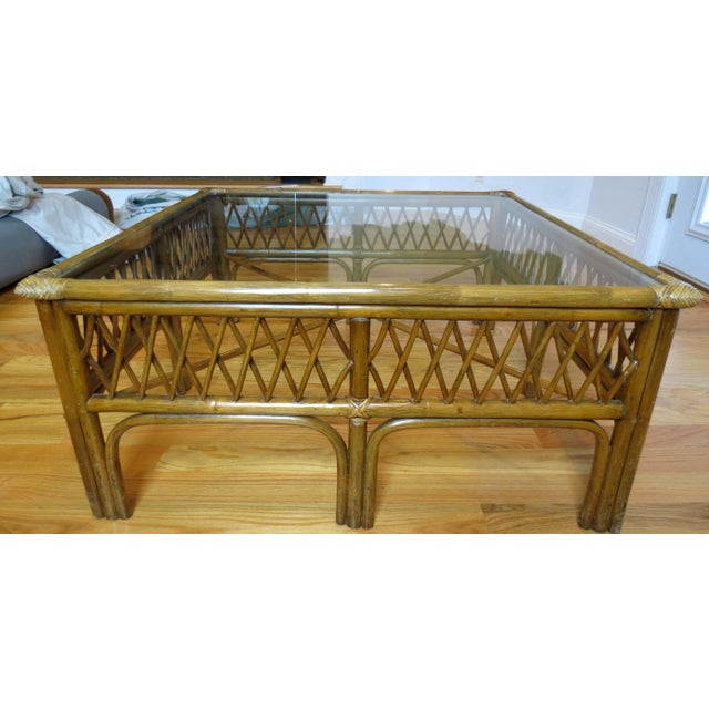 Bamboo, Wood and Glass Coffee Table - Image 4 of 5