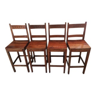 Contemporary Carved Wood Bar Stools - Set of 4