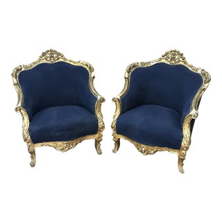 Antique French Rococo Blue and Gold Bergere Chairs-A Pair