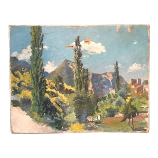 Vintage Rustic French Landscape Painting