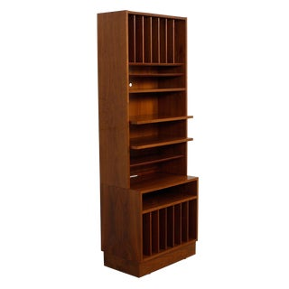 Danish Modern Walnut Vinyl Display Storage Case