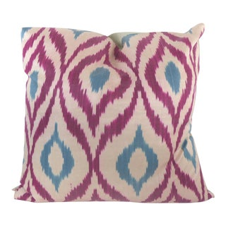 Pink & Blue Woven Silk Ikat Pillow