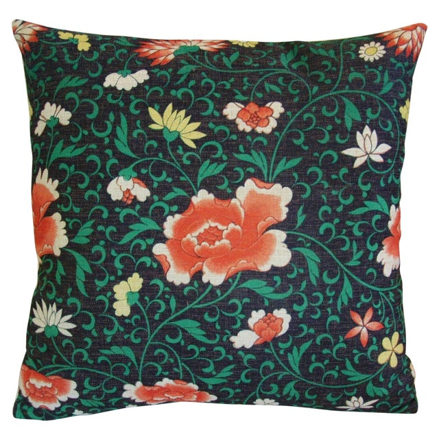Imperial Scrolling Floral Lotus Linen Pillow - Image 1 of 5