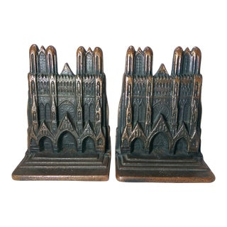 Cathedral-Shaped Cast Iron Bookends - A Pair