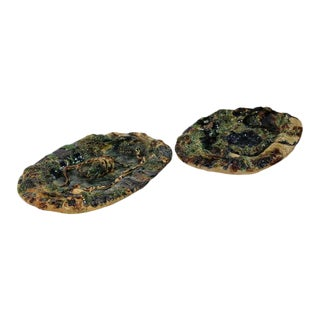 19th Century French Barbotine Hand Painted Majolica Palissy Platters - A Pair
