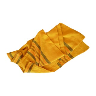 Woven Yellow Striped Tablecloth Throw