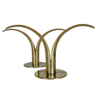 Ystad Metal Swedish Mid-Century Split Leaf Candle Holders - a Pair