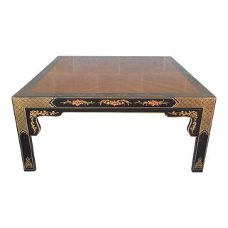 Henredon Black Lacquer Chinoiserie Coffee Table