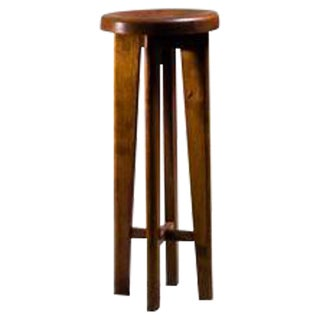 High French Stool in Oak, France, 1940s