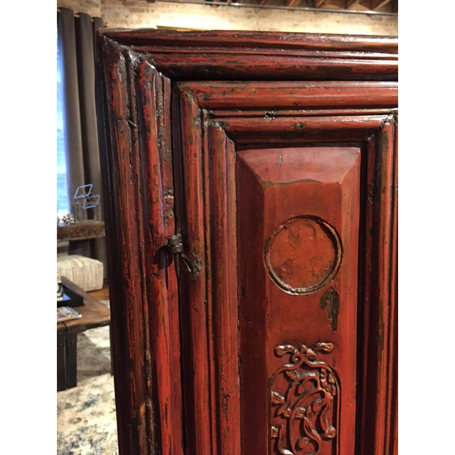 Antique Chinese Red Carved Cabinet - Image 5 of 9
