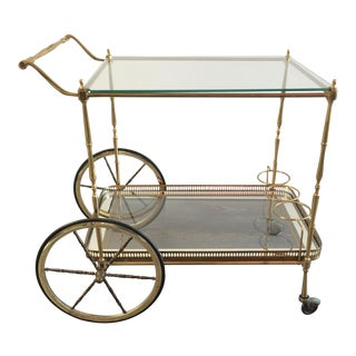 Italian Brass and Glass Bar Cart